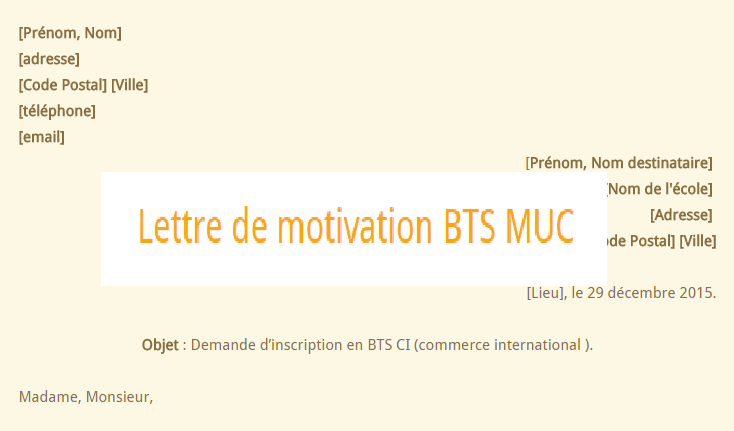 lettre motivation bts muc