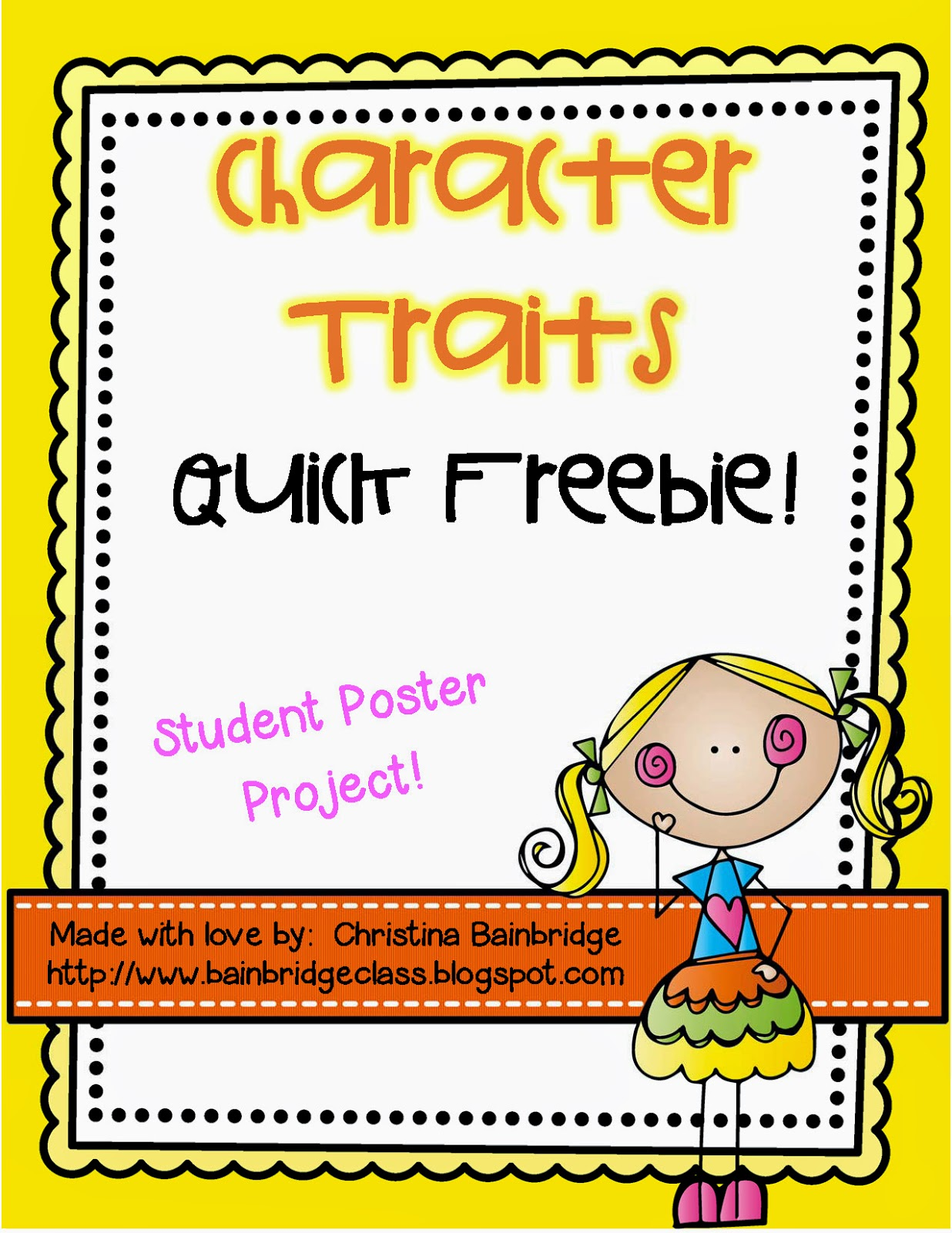 Welcome To The Uni Corner Character Traits Posters Freebie