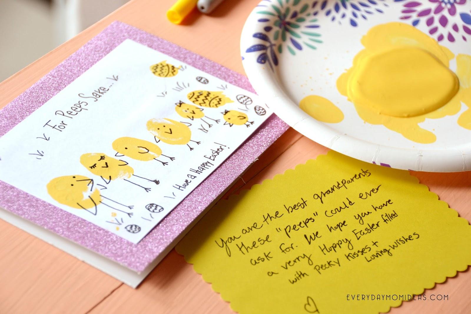 My Peeps Easy Easter Card Kids Craft Cute Thumb Print Art