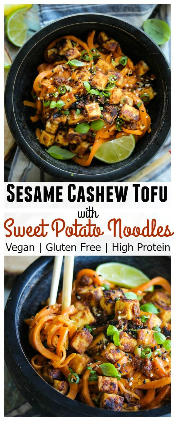 SESAME CASHEW TOFU WITH SWEET POTATO NOODLES