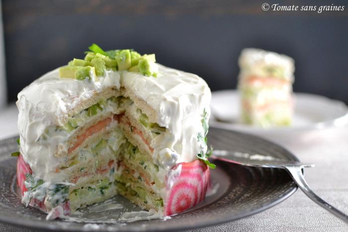 Sandwich cake au saumon fumé et avocat