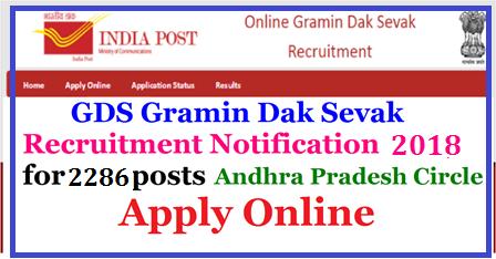 AP Postal gramin Dak Sevaks Posts Recruitment  2286 Vacancies Apply Online @appost.in