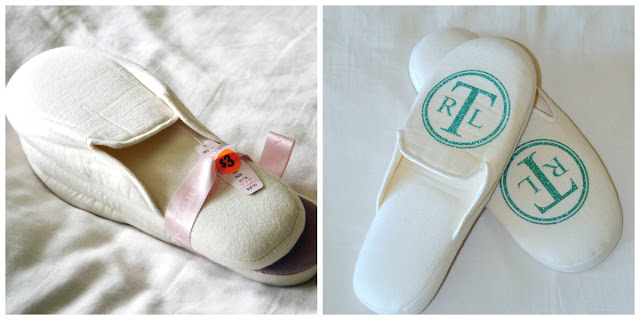 easy to make monogrammed slippers using heat transfer vinyl