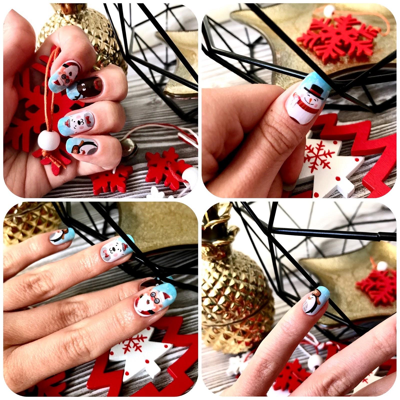 zdjęcie przedstawiające wzór Manirouge Santa Claus na paznokciach