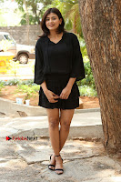 Actress Hebah Patel Stills in Black Mini Dress at Angel Movie Teaser Launch  0038.JPG