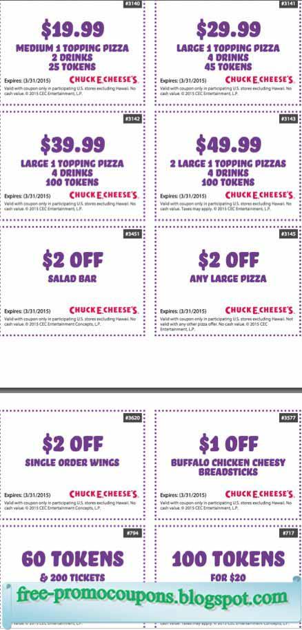Printable chuck e cheese coupons april 2018