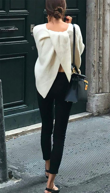 open back sweater street style