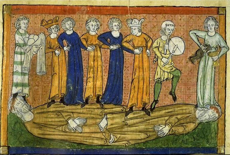 Os mundanos dançam sobre os cadáveres das testemunhas de Deus. Biblioteca de Toulouse (1220-1270).