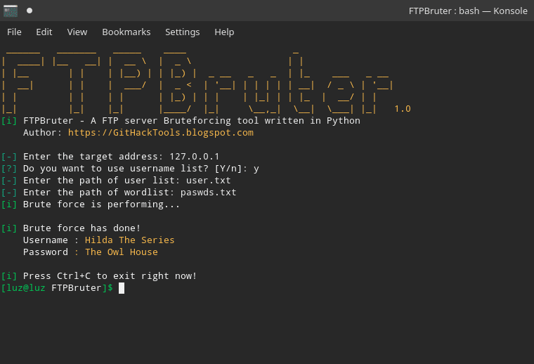 FTPBruter - A FTP Server Brute Forcing Tool