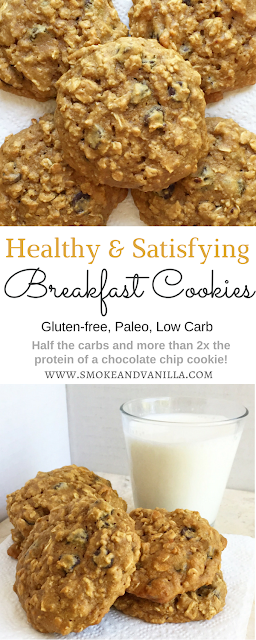Healthy Oatmeal Breakfast Cookies by www.smokeandvanilla.com - An easy recipe for soft, chewy, and healthy oatmeal peanut butter chocolate chip breakfast cookies. Gluten free, low carb, and just one simple substitution to make them Paleo too! http://bit.ly/2q1ZZjC