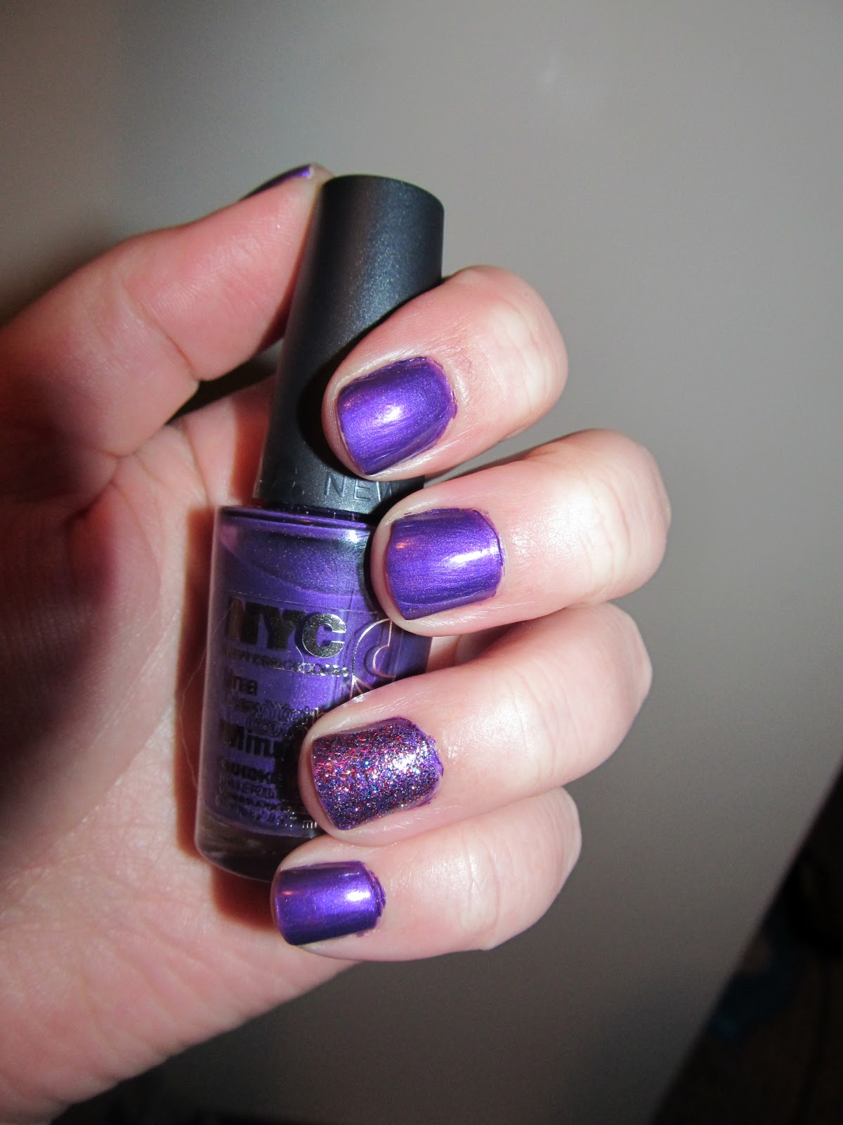 Carrielovesfashion Notd Quot Purple Glam Quot Feat Nyc In A New York Minute Quick Dry Nail Polish In