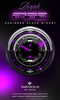 Purple Fire HD Clock Widget