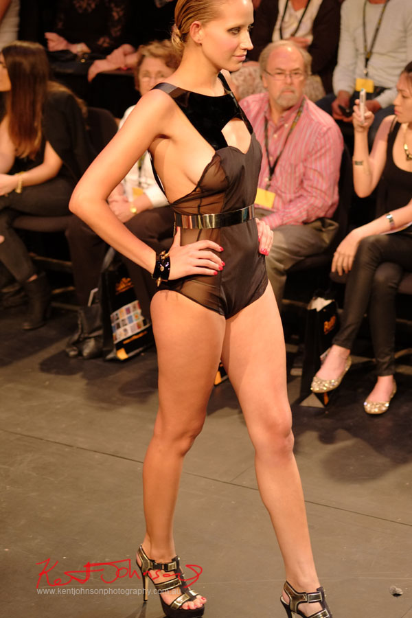 Will Brunton - Sheer Black Playsuit, Raffles College 2012 Graduate Fashion Show Carriageworks, Everleigh Sydney