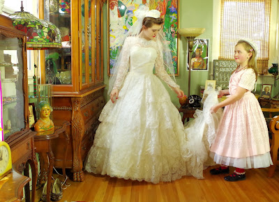 Retro 80s does 50s Lace Flounce Wedding Gown