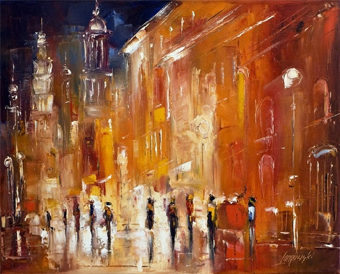 Marek Langowski | Polish Impressionist Landscapes painter | Venice by night