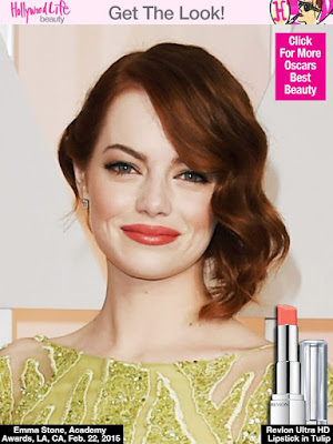 Emma Stone makeup look, coral lips