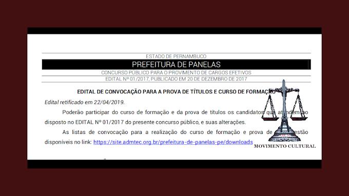 RETIFICAÇÃO NO EDITAL DE CONVOCAÇÃO DO CONCURSO PÚBLICO DE PANELAS