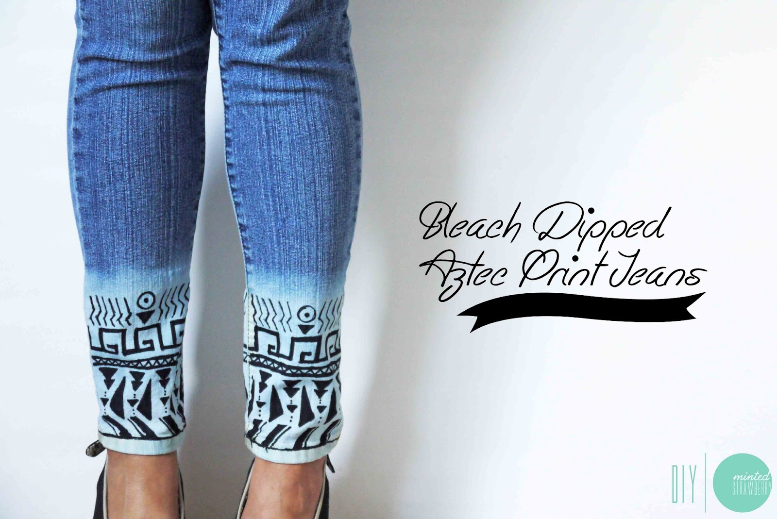 DIY: Bleach-Dipped Aztec Jeans - Minted Strawberry