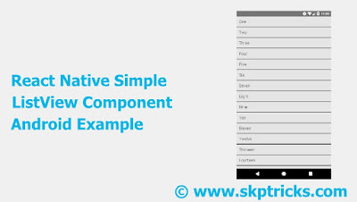 React Native Simple ListView Component Android Example