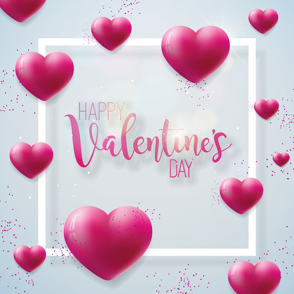 Valentine's Day - Heart balloon with valentine frame free vector download