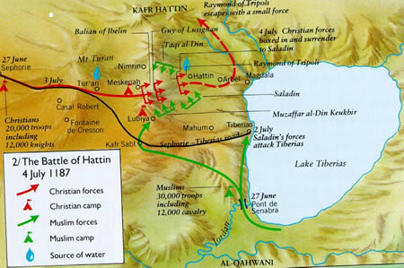 the battle of hattin 29122015  on july 4, 1187 the legendary muslim leader saladin destroyed the crusader army of the latin kingdom of jerusalem with a terrible slaughter at the battle.
