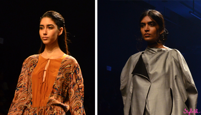 Image of female models wearing full filled in eye brows as a beauty trend for Tulsi Silks on the runway at Lakme Fashion Week Winter Festive 2016