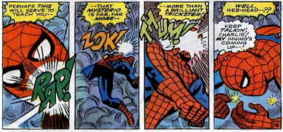 Amazing Spider-Man #66, jim mooney, john romita, his spider-senses confused by mist, spider-man is helpless as mysterio's blows rain in on him