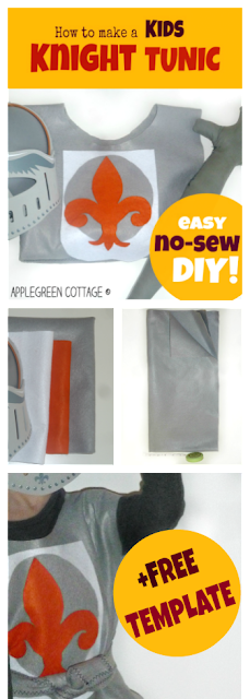 Want to make a super easy knight costume for your kid in a really short time? No sewing involved? Easy and inexpensive? There, an amazingly cute knight's costume tutorial that your kids will absolutely love!