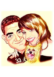 caricatura de casal com pet