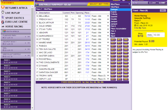 Open Bets Web Page