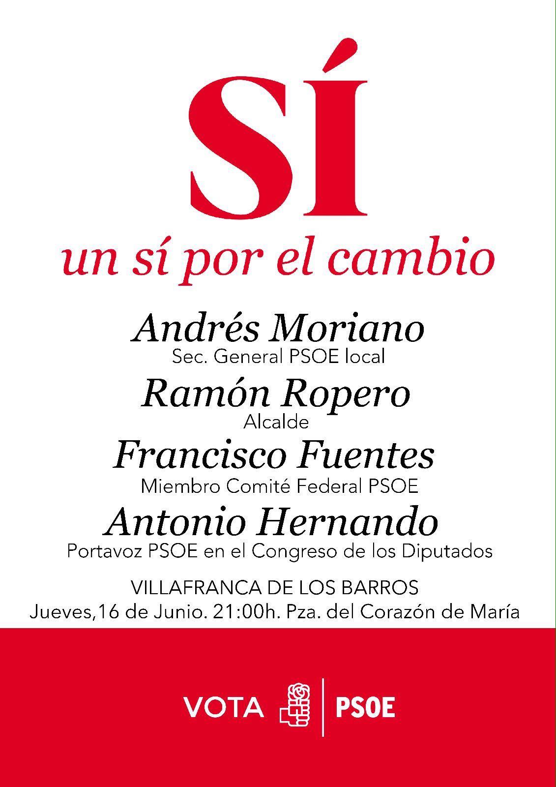 EL PSOE REALIZARÁ EL JUEVES SU ACTO PÚBLICO DE LA CAMPAÑA ELECTORAL, CON LA ASISTENCIA DE ANTONIO HERNANDO