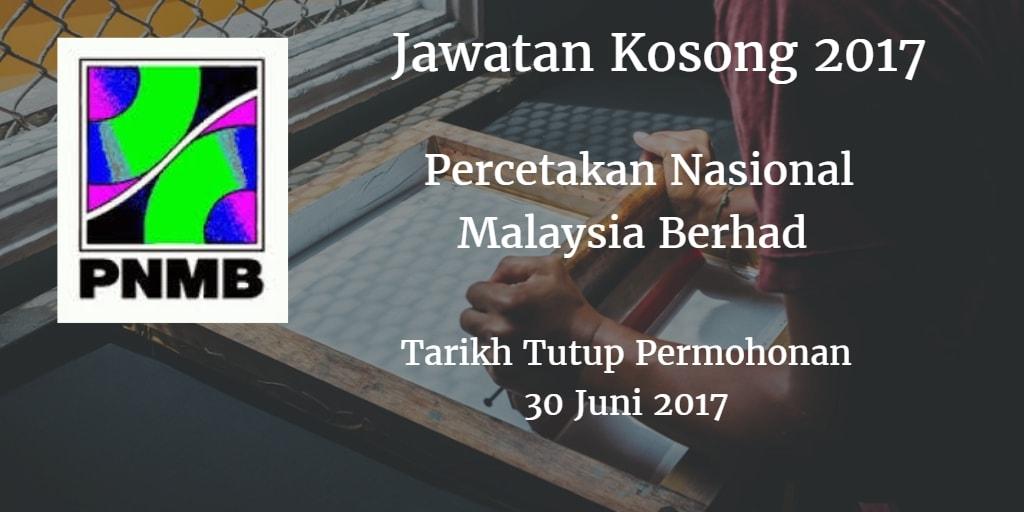 Jawatan Kosong PNMB 30 Juni 2017