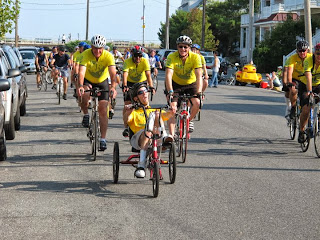 Frontal shot of myself, Reid, Bruce, and other PCAS riders, very close to the finish.