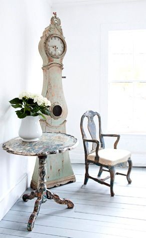Antique Swedish mora clock and furniture - found on Hello Lovely Studio