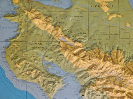 relief map of northwest coast rica the capital of san jose where we began our journey part 1 lies in the central valley in the lower right corner of