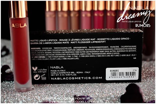 Rumors Dreamy Matte Liquid Lipstick rossetto liquido nabla cosmetics inci