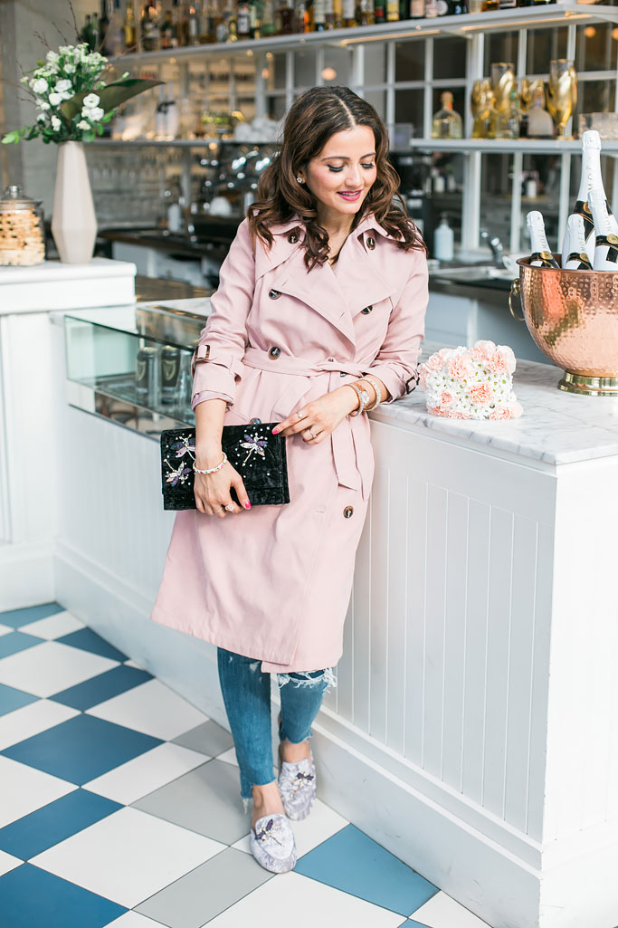 Pink Chicwish Trenchcoat, Distressed Jeans, Nine West Velvet Clutch and Purple loafers