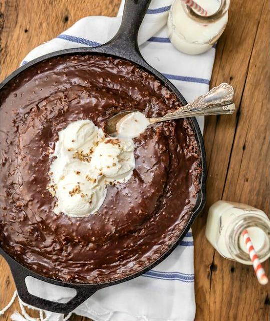 Gooey Texas Chocolate Sheet Cake Skillet