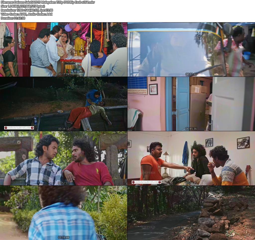 Daivam Sakshi 2019 Malayalam 720p DVDRip Esub x264 | 480p 300MB | 100MB HEVC Screenshot