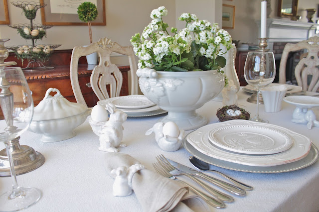 neutral easter tablescape with white flowers