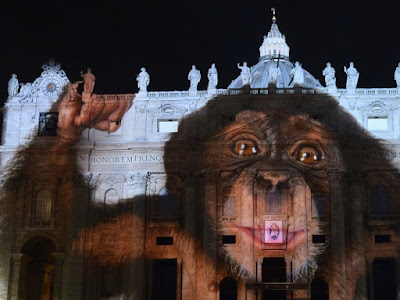 Vatican lit up with monkey picture