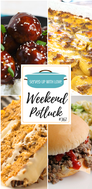 Weekend Potluck featured recipes include The Best Maid Rite Sandwiches, Southern Hummingbird Cake, Asian Pork Meatballs, Hamburger Potato Casserole, and more.