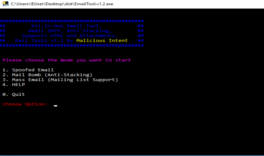 Mail Tool v1 2 - E-mail spoofing tool - HACK4NET 🤖 Pentest Tools