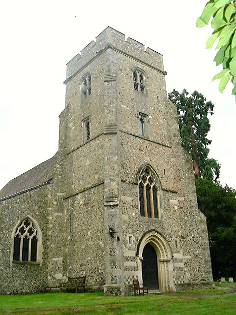 Photograph of The West Tower at St Mary's North Mymms thought to have been built by Sir Thomas Knolles Image by David Brewer released under Creative Commons BY-NC-SA 4.0