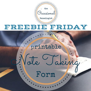 Free, printable note taking form for genealogy