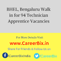 BHEL, Bengaluru Walk in for 94 Technician Apprentice Vacancies