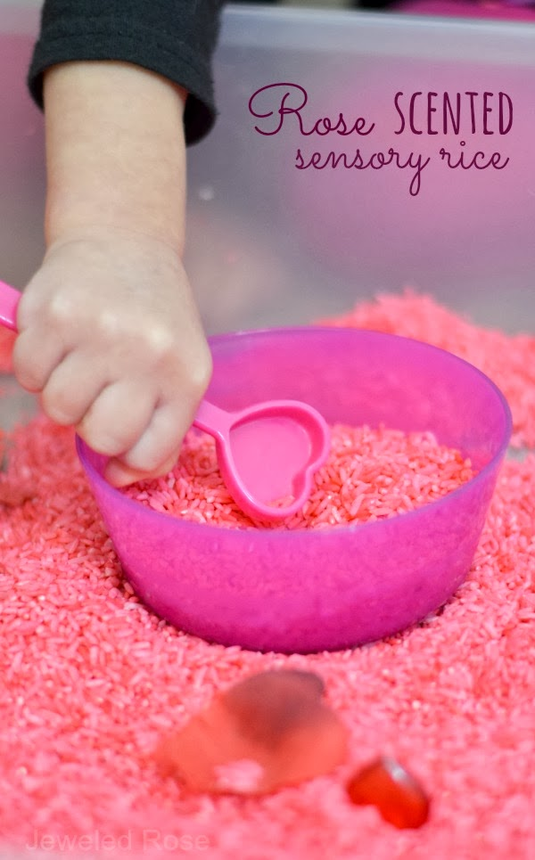 Vaentines play rice recipe and sensory bin- this scented rice smells glorious, has therapeutic attributes, and there are lots of fun ways for kids to play and explore.