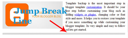 cara membuat jump break di blogger