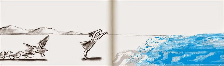 Muestra de páginas interiores del cuento La Ola ilustrado por Suzy Lee