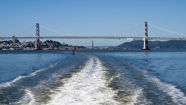 SF Bay Bridge and Golden Gate Bridge viewed from the San Francisco Bay Ferry